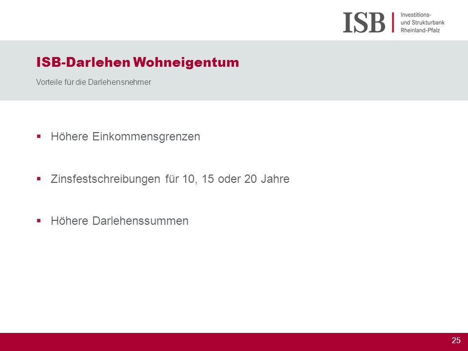 25 ISB-Darlehen Wohneigentum Vorteile für die Darlehensnehmer Höhere Einkommensgrenzen Zinsfestschreibungen für 10, 15 oder 20 Jahre Höhere Darlehenss