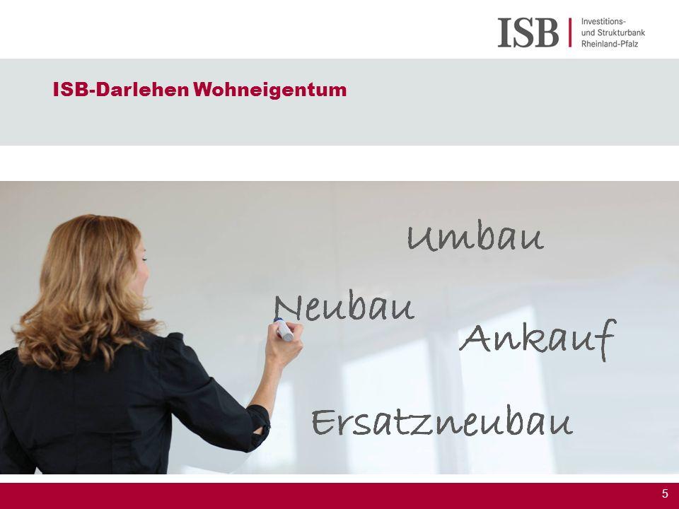 6 10, 15 oder 20 Jahre Zinssicherheit Zinssatz maßgeblich zum Zeitpunkt des Eingangs des Förderantrages bei der ISB ISB-Darlehen Wohneigentum Konditionen Stand 03.