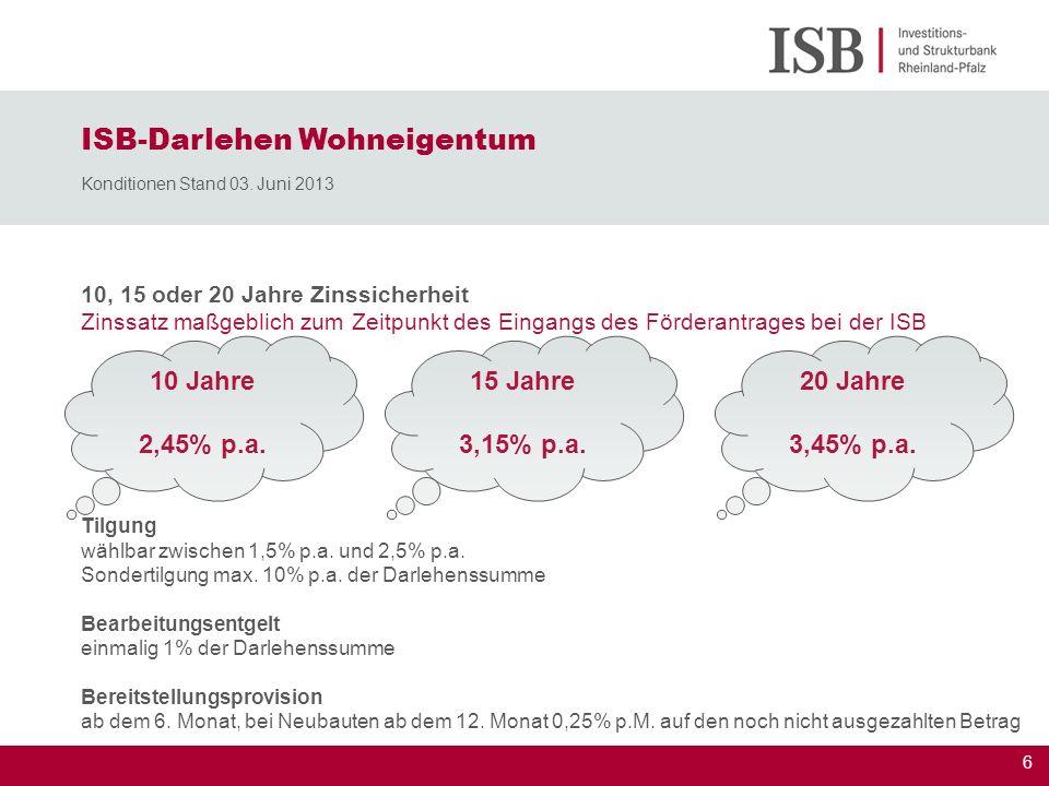 6 10, 15 oder 20 Jahre Zinssicherheit Zinssatz maßgeblich zum Zeitpunkt des Eingangs des Förderantrages bei der ISB ISB-Darlehen Wohneigentum Konditio