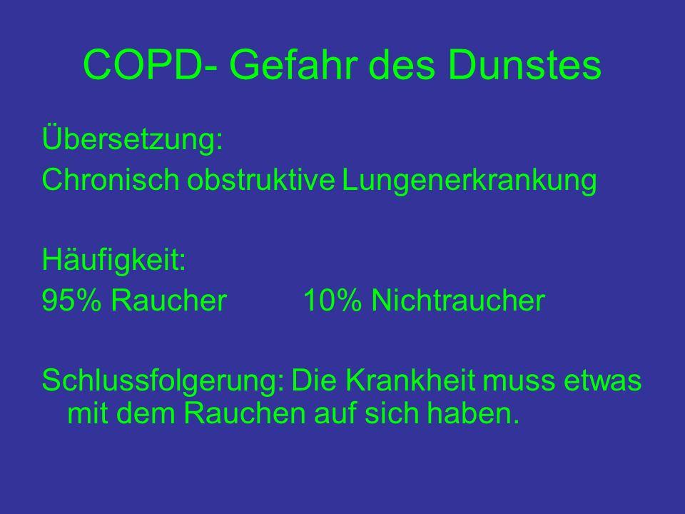 COPD- Gefahr des Dunstes Übersetzung: Chronisch obstruktive Lungenerkrankung Häufigkeit: 95% Raucher 10% Nichtraucher Schlussfolgerung: Die Krankheit