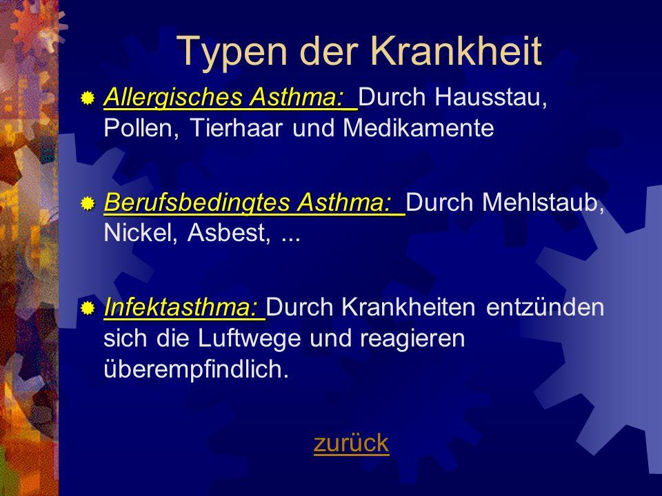 Allergisches Asthma:_ Allergisches Asthma:_Durch Hausstau, Pollen, Tierhaar und Medikamente Berufsbedingtes Asthma:_ Berufsbedingtes Asthma:_Durch Meh
