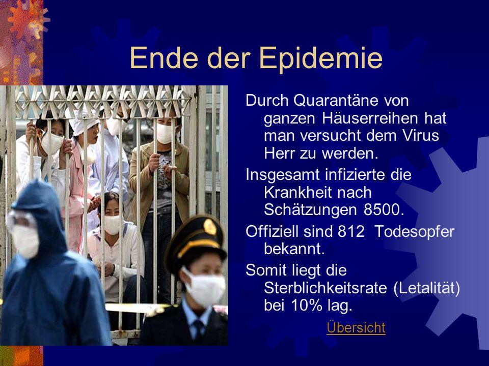 Ende der Epidemie Durch Quarantäne von ganzen Häuserreihen hat man versucht dem Virus Herr zu werden. Insgesamt infizierte die Krankheit nach Schätzun