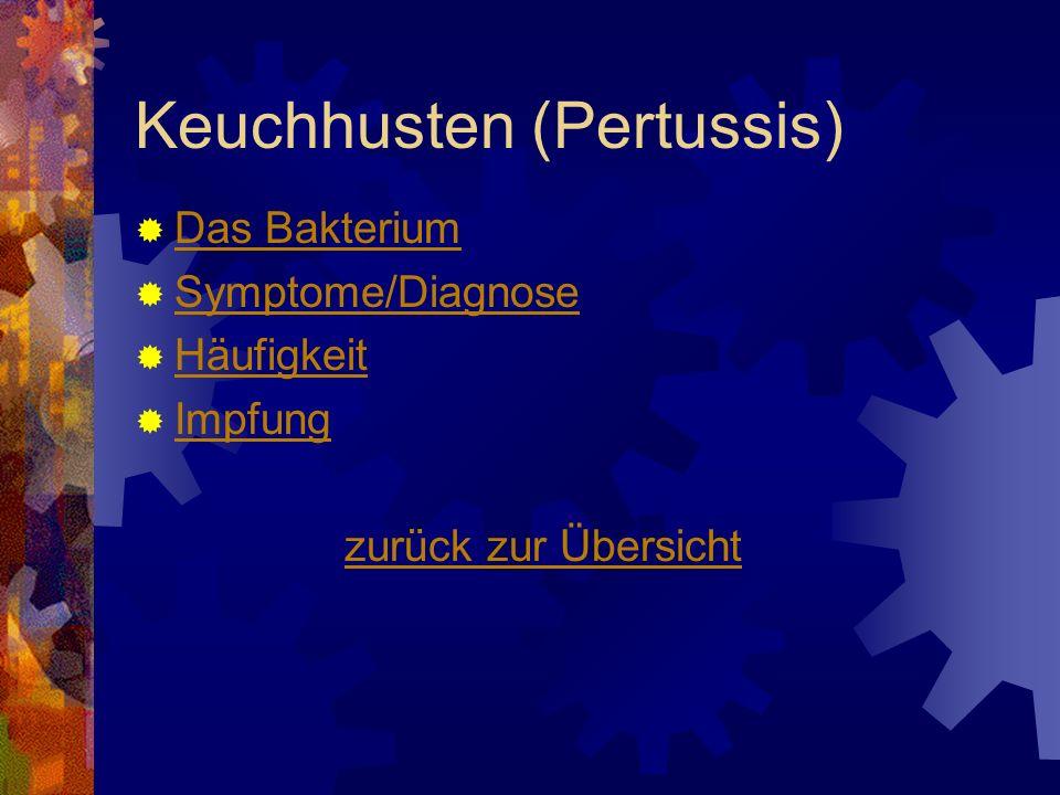 Keuchhusten (Pertussis) Das Bakterium Symptome/Diagnose Häufigkeit Impfung zurück zur Übersicht