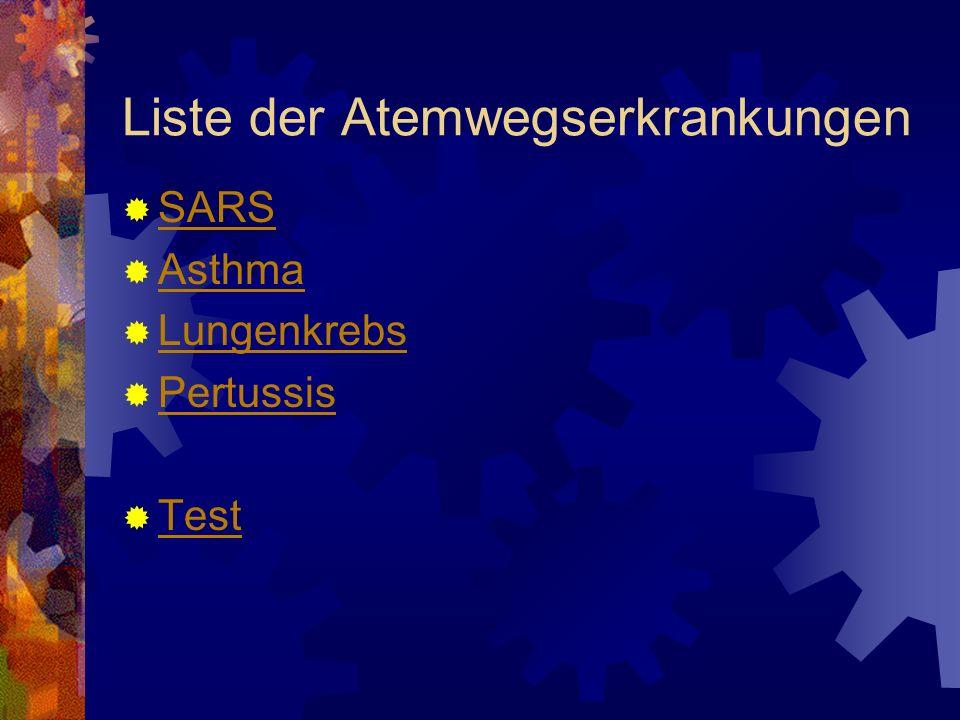 Liste der Atemwegserkrankungen SARS Asthma Lungenkrebs Pertussis Test