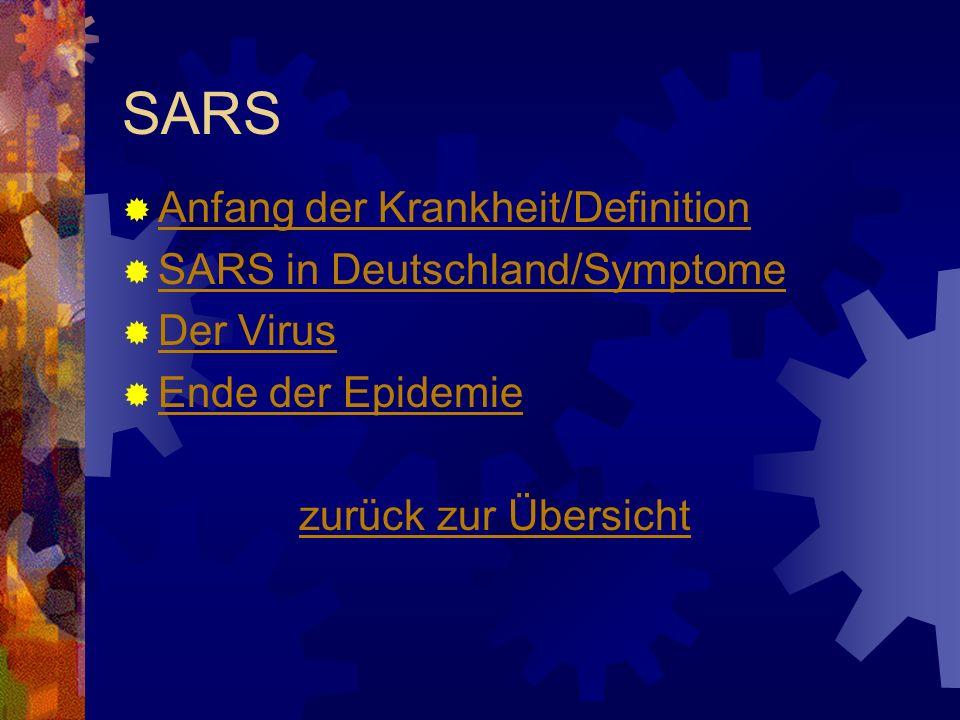 SARS Anfang der Krankheit/Definition SARS in Deutschland/Symptome Der Virus Ende der Epidemie zurück zur Übersicht