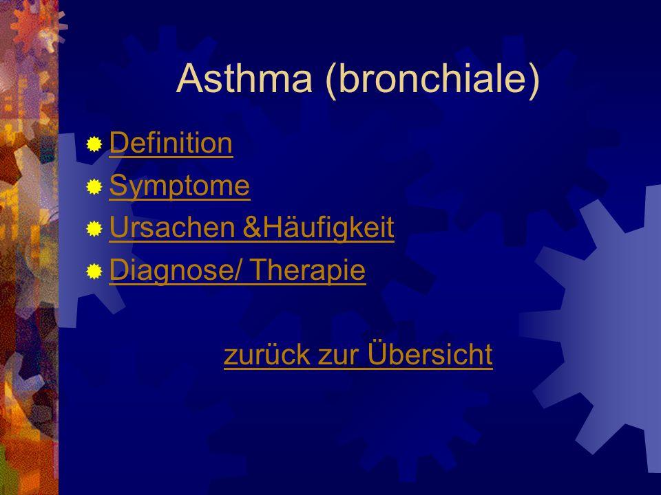 Asthma (bronchiale) Definition Symptome Ursachen &Häufigkeit Diagnose/ Therapie zurück zur Übersicht