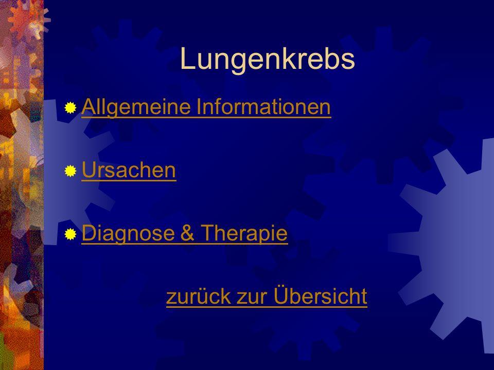 Lungenkrebs Allgemeine Informationen Ursachen Diagnose & Therapie zurück zur Übersicht