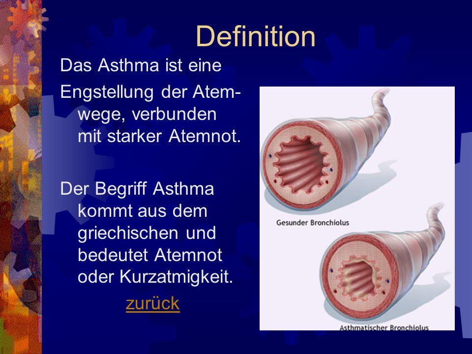 Definition Das Asthma ist eine Engstellung der Atem- wege, verbunden mit starker Atemnot. Der Begriff Asthma kommt aus dem griechischen und bedeutet A