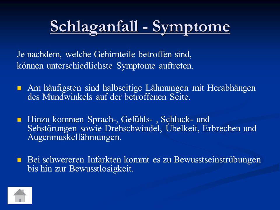 Schlaganfall - Symptome Je nachdem, welche Gehirnteile betroffen sind, können unterschiedlichste Symptome auftreten.
