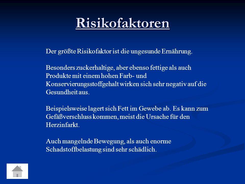 Risikofaktoren Der größte Risikofaktor ist die ungesunde Ernährung.