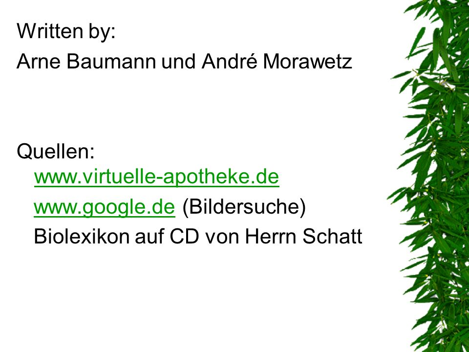 Written by: Arne Baumann und André Morawetz Quellen: www.virtuelle-apotheke.de www.virtuelle-apotheke.de www.google.de (Bildersuche)www.google.de Biol