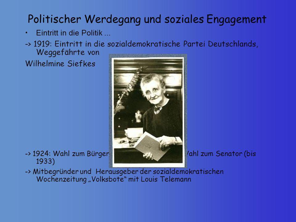 Politischer Werdegang und soziales Engagement Eintritt in die Politik... -> 1919: Eintritt in die sozialdemokratische Partei Deutschlands, Weggefährte