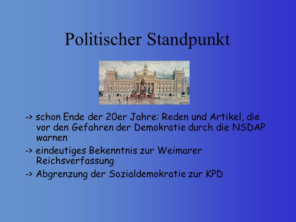 Politischer Standpunkt -> schon Ende der 20er Jahre: Reden und Artikel, die vor den Gefahren der Demokratie durch die NSDAP warnen -> eindeutiges Beke