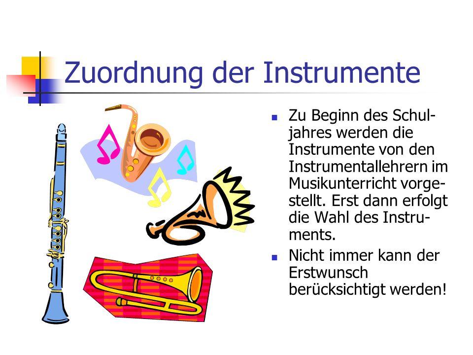 Zuordnung der Instrumente Zu Beginn des Schul- jahres werden die Instrumente von den Instrumentallehrern im Musikunterricht vorge- stellt. Erst dann e