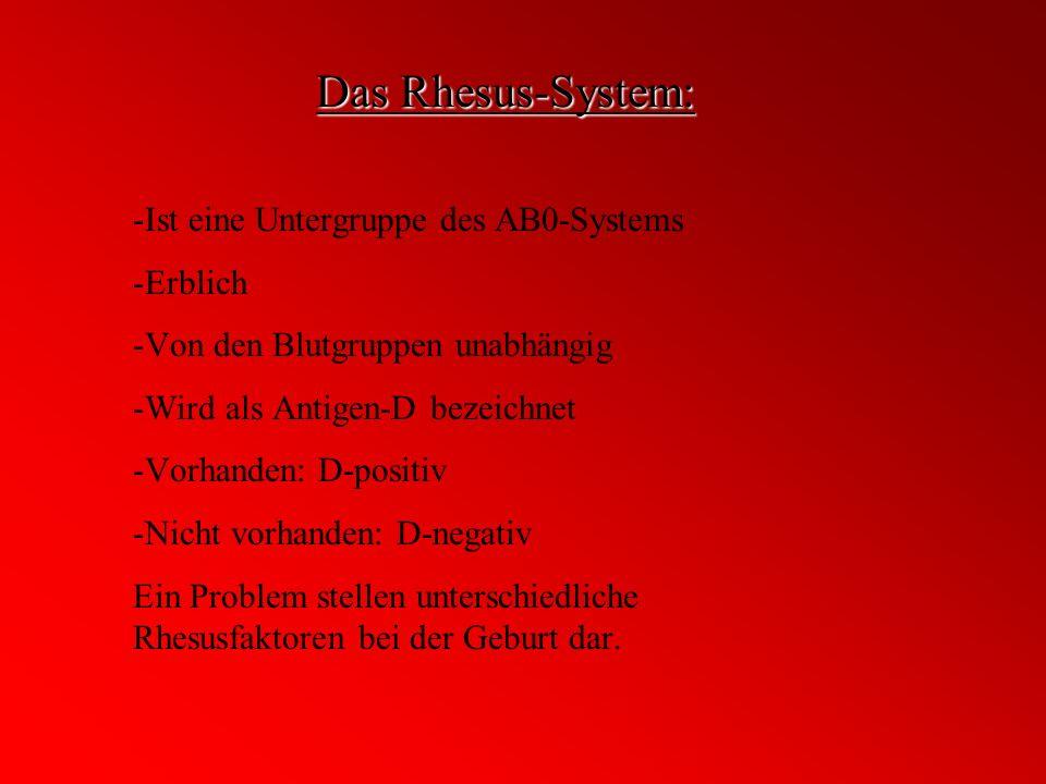 Das Rhesus-System: -Ist eine Untergruppe des AB0-Systems -Erblich -Von den Blutgruppen unabhängig -Wird als Antigen-D bezeichnet -Vorhanden: D-positiv