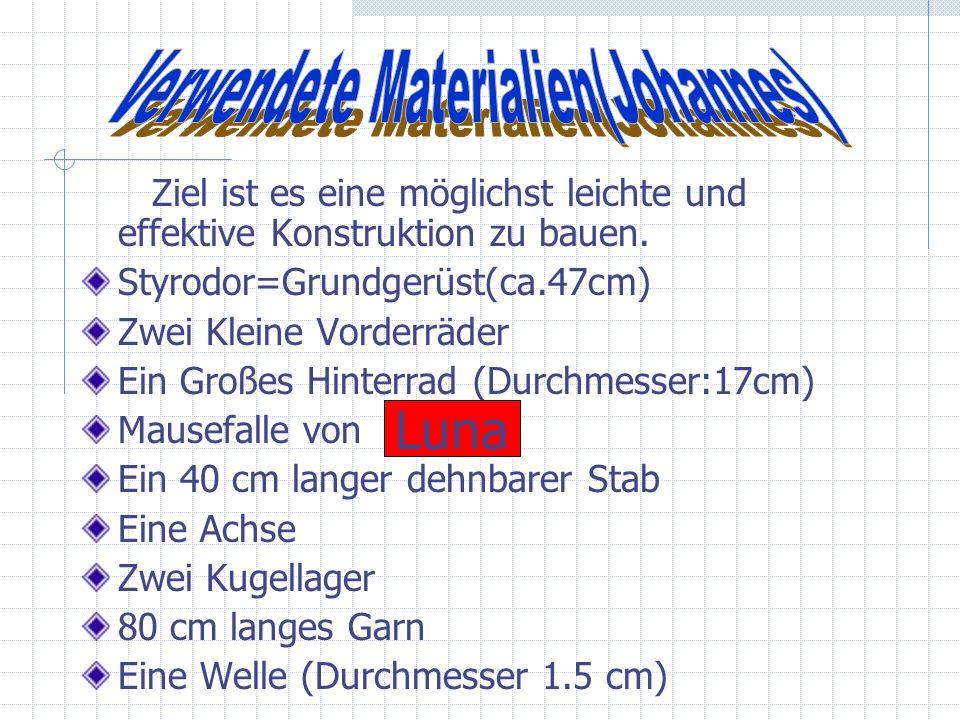 -Verwendete Materialien(Johannes) -Funktion des Fahrzeuges(Kristoffer) -Berechnung und Entwicklung(Steffen) -Verwendete Materialien(Johannes) -Funktio