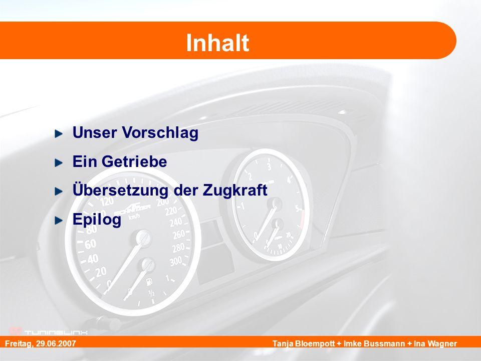 Tanja Bloempott + Imke Bussmann + Ina WagnerFreitag, 29.06.2007 Inhalt Unser Vorschlag Ein Getriebe Übersetzung der Zugkraft Epilog
