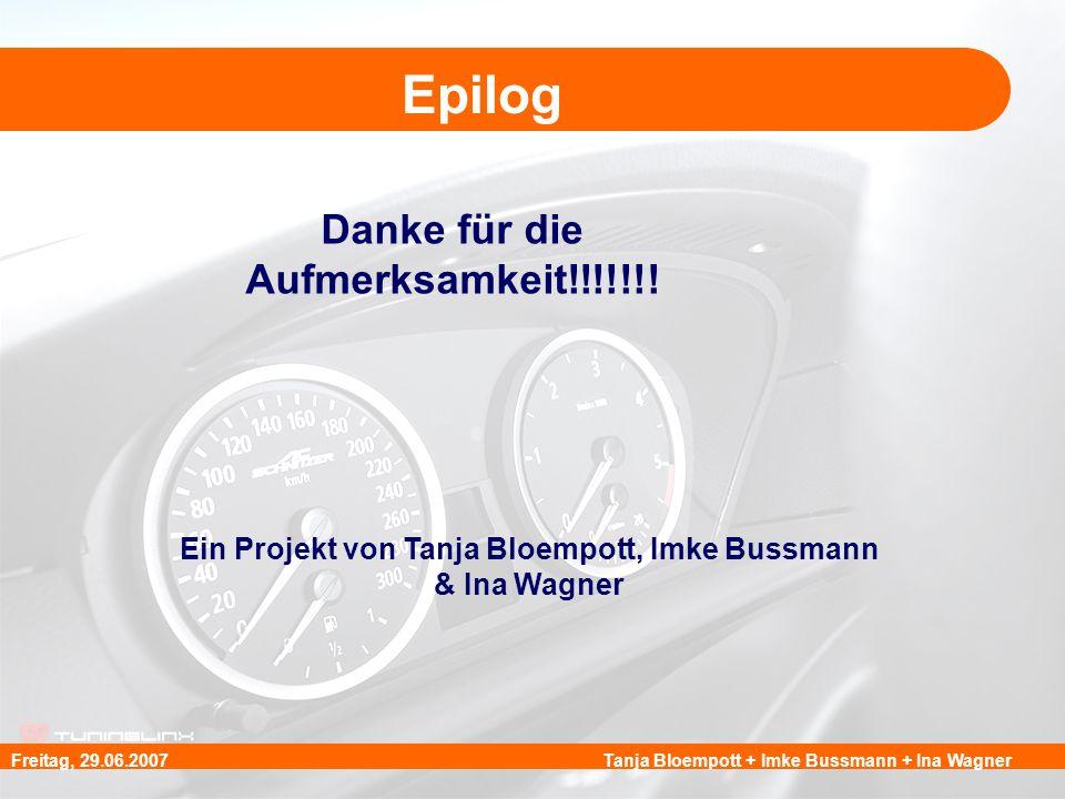Tanja Bloempott + Imke Bussmann + Ina WagnerFreitag, 29.06.2007 Epilog Danke für die Aufmerksamkeit!!!!!!! Ein Projekt von Tanja Bloempott, Imke Bussm
