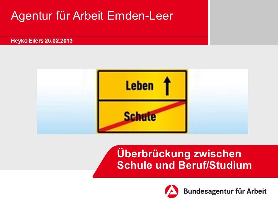 Agentur für Arbeit Emden-Leer Heyko Eilers 26.02.2013 Überbrückung zwischen Schule und Beruf/Studium