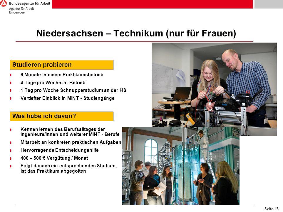 Seite 16 Niedersachsen – Technikum (nur für Frauen) Studieren probieren 6 Monate in einem Praktikumsbetrieb 4 Tage pro Woche im Betrieb 1 Tag pro Woch