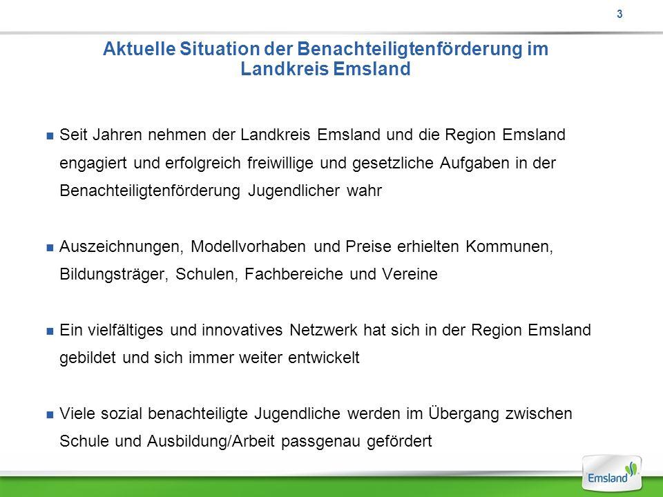 Aktuelle Situation der Benachteiligtenförderung im Landkreis Emsland Seit Jahren nehmen der Landkreis Emsland und die Region Emsland engagiert und erf