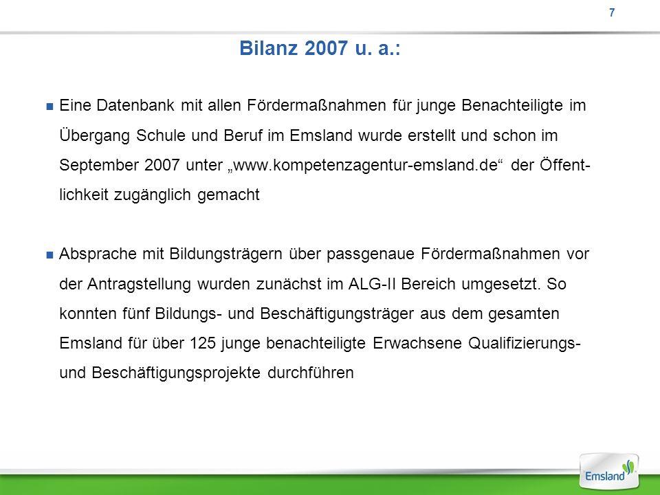 Bilanz 2007 u. a.: Eine Datenbank mit allen Fördermaßnahmen für junge Benachteiligte im Übergang Schule und Beruf im Emsland wurde erstellt und schon