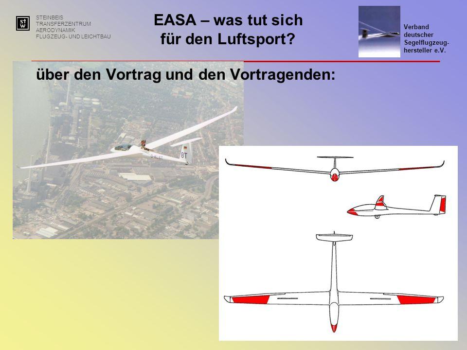 STEINBEIS TRANSFERZENTRUM AERODYNAMIK FLUGZEUG- UND LEICHTBAU EASA – was tut sich für den Luftsport.
