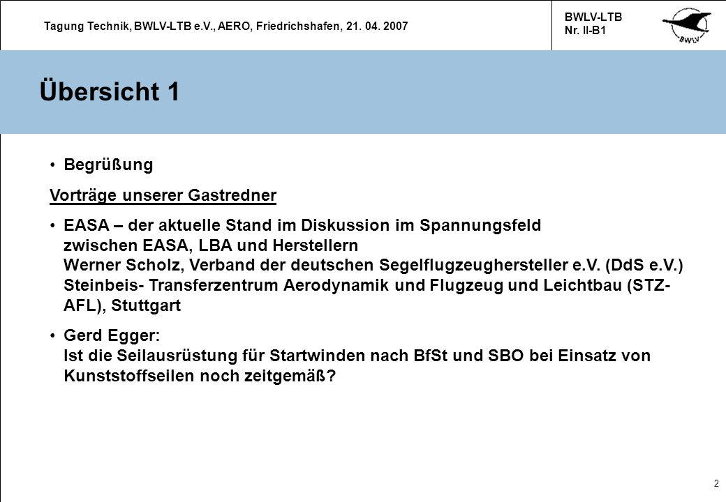 Tagung Technik, BWLV-LTB e.V., AERO, Friedrichshafen, 21. 04. 2007 BWLV-LTB Nr. II-B1 2 Übersicht 1 Begrüßung Vorträge unserer Gastredner EASA – der a
