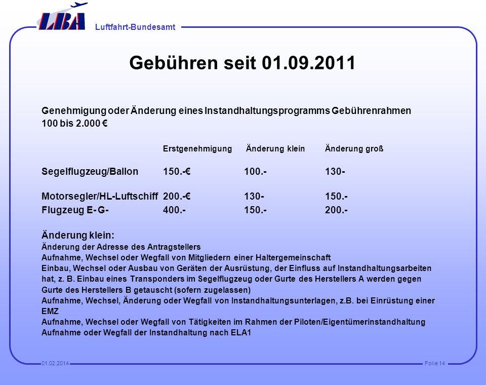 Luftfahrt-Bundesamt Folie 1301.02.2014 Fazit (Seit Dezember 2010 ca 600 Eingänge, ca. 170 genehmigt. (Antragsteller ohne entsprechende Kenntnisse sind