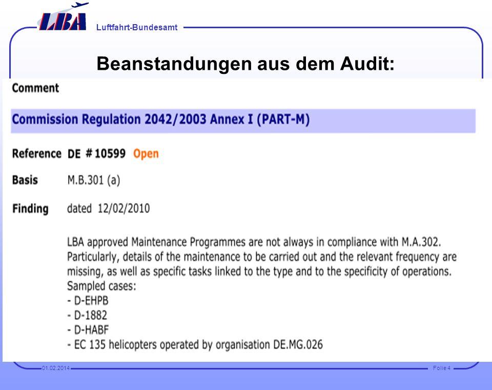 Luftfahrt-Bundesamt Folie 301.02.2014 EASA Standardisierungs-Audit beim LBA am 12. Februar 2010