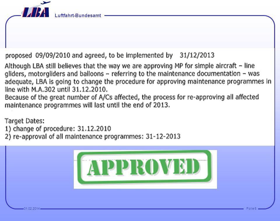 Luftfahrt-Bundesamt Folie 401.02.2014 Beanstandungen aus dem Audit: