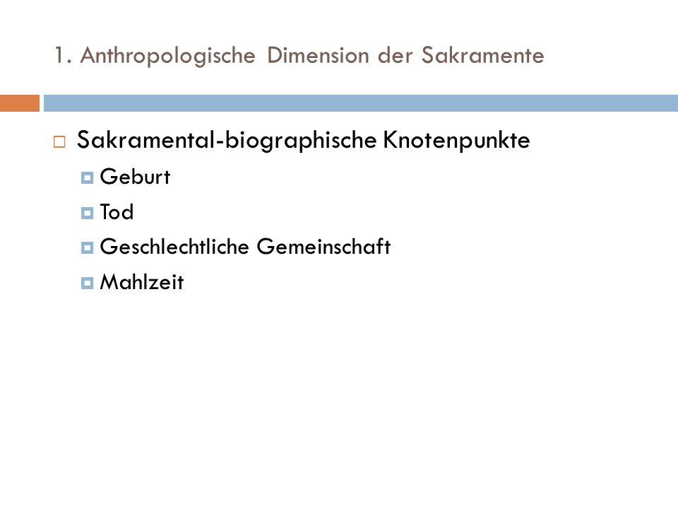 1. Anthropologische Dimension der Sakramente Sakramental-biographische Knotenpunkte Geburt Tod Geschlechtliche Gemeinschaft Mahlzeit