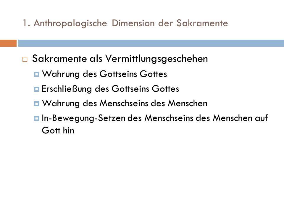 1. Anthropologische Dimension der Sakramente Sakramente als Vermittlungsgeschehen Wahrung des Gottseins Gottes Erschließung des Gottseins Gottes Wahru
