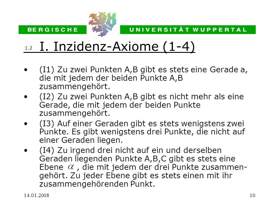 14.01.200810 I. Inzidenz-Axiome (1-4) (I1) Zu zwei Punkten A,B gibt es stets eine Gerade a, die mit jedem der beiden Punkte A,B zusammengehört. (I2) Z