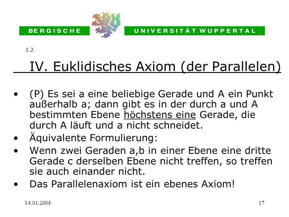 14.01.200817 IV. Euklidisches Axiom (der Parallelen) (P) Es sei a eine beliebige Gerade und A ein Punkt außerhalb a; dann gibt es in der durch a und A