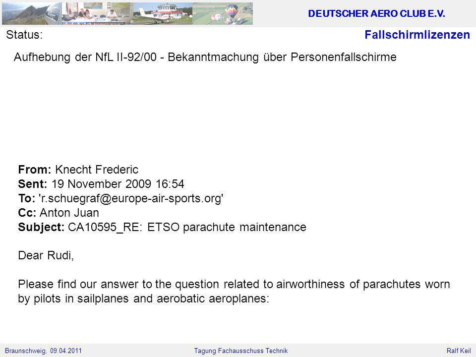Braunschweig, 09.04.2011 DEUTSCHER AERO CLUB E.V. Ralf Keil Tagung Fachausschuss Technik FallschirmlizenzenStatus: Aufhebung der NfL II-92/00 - Bekann