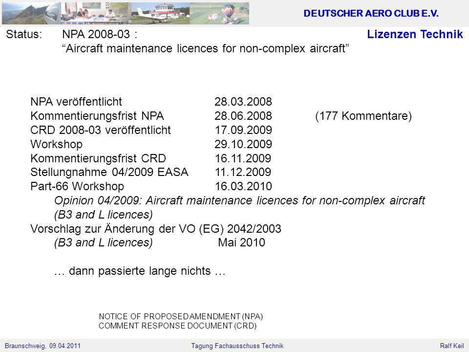 Braunschweig, 09.04.2011 DEUTSCHER AERO CLUB E.V. Ralf Keil Tagung Fachausschuss Technik Lizenzen TechnikStatus:NPA 2008-03 : Aircraft maintenance lic
