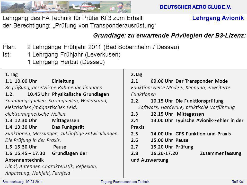 Braunschweig, 09.04.2011 DEUTSCHER AERO CLUB E.V. Ralf Keil Tagung Fachausschuss Technik Lehrgang Avionik 1. Tag 1.1 10.00 Uhr Einleitung Begrüßung, g
