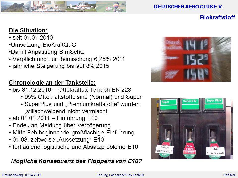 Braunschweig, 09.04.2011 DEUTSCHER AERO CLUB E.V. Ralf Keil Tagung Fachausschuss Technik Biokraftstoff Die Situation: seit 01.01.2010 Umsetzung BioKra