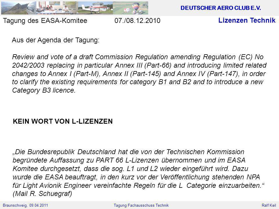 Braunschweig, 09.04.2011 DEUTSCHER AERO CLUB E.V. Ralf Keil Tagung Fachausschuss Technik Lizenzen Technik Aus der Agenda der Tagung: Review and vote o
