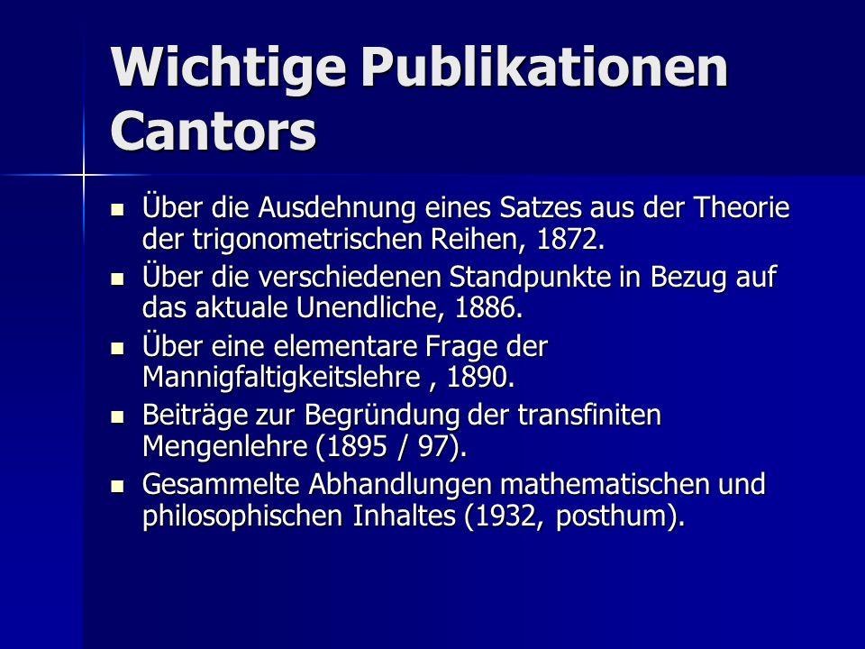 Wichtige Publikationen Cantors Über die Ausdehnung eines Satzes aus der Theorie der trigonometrischen Reihen, 1872. Über die Ausdehnung eines Satzes a