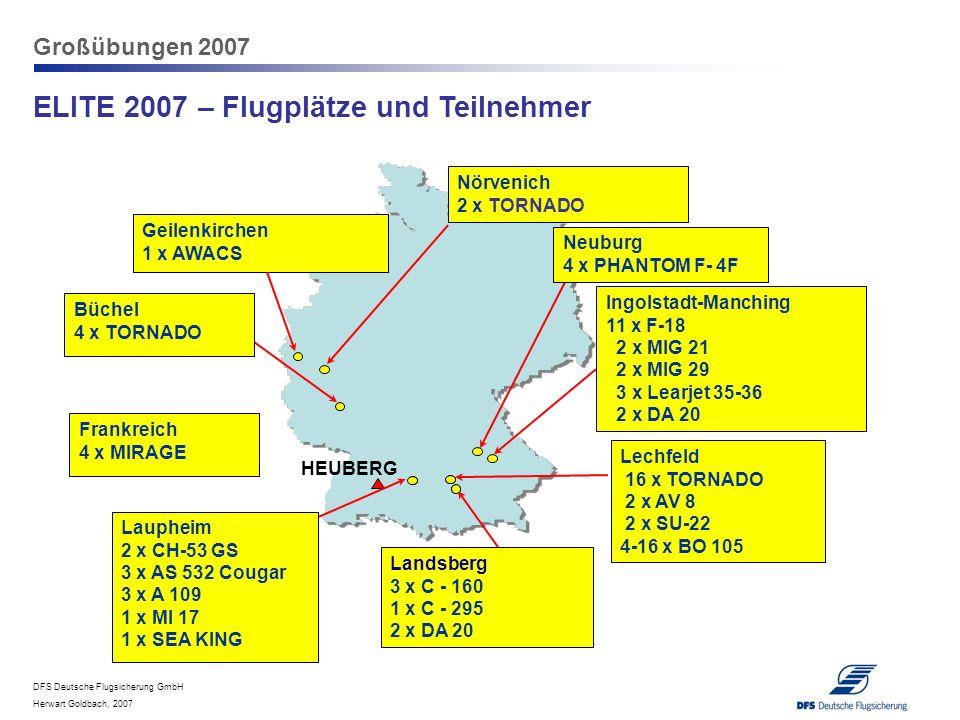 DFS Deutsche Flugsicherung GmbH Herwart Goldbach, 2007 Großübungen 2007 ELITE 2007 – Flugplätze und Teilnehmer Lechfeld 16 x TORNADO 2 x AV 8 2 x SU-2