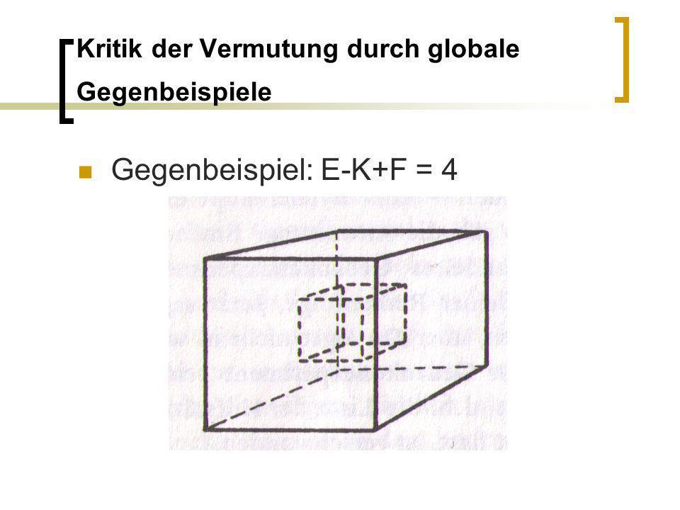 Kritik der Vermutung durch globale Gegenbeispiele Gegenbeispiel: E-K+F = 4