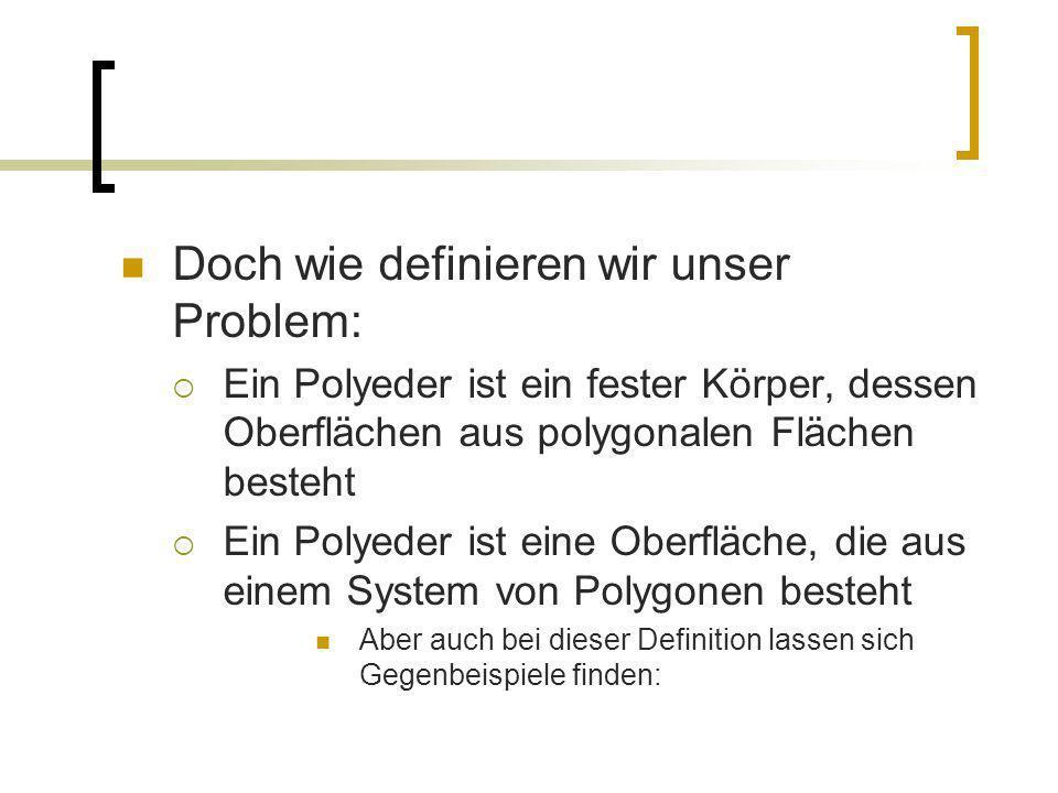 Doch wie definieren wir unser Problem: Ein Polyeder ist ein fester Körper, dessen Oberflächen aus polygonalen Flächen besteht Ein Polyeder ist eine Ob