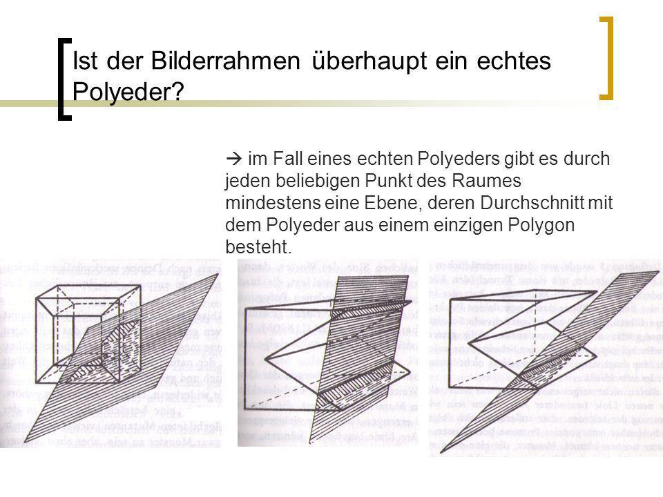 Ist der Bilderrahmen überhaupt ein echtes Polyeder? im Fall eines echten Polyeders gibt es durch jeden beliebigen Punkt des Raumes mindestens eine Ebe