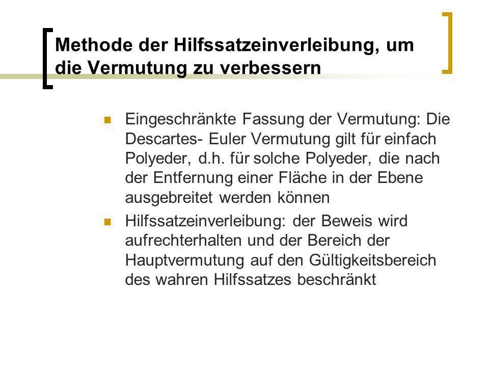Methode der Hilfssatzeinverleibung, um die Vermutung zu verbessern Eingeschränkte Fassung der Vermutung: Die Descartes- Euler Vermutung gilt für einfa