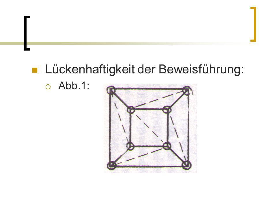 Abb.1: wenn man jetzt ein Dreieck aus dem Inneren dieses Netzwerkes entfernt (Analogie: Mosaikspiel), dann entferne ich ein Dreieck ohne eine einzige Ecke oder Kante zu entfernen also: dritter Hilfssatz falsch, aber kein Gegenbeispiel für die Vermutung (Ausnahme Polyeder: bei dem alle Dreiecke des ebenen Netzwerkes Randdreiecke sind)