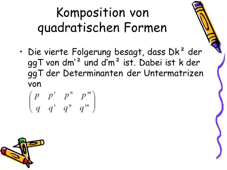Die vierte Folgerung besagt, dass Dk² der ggT von dm² und dm² ist.