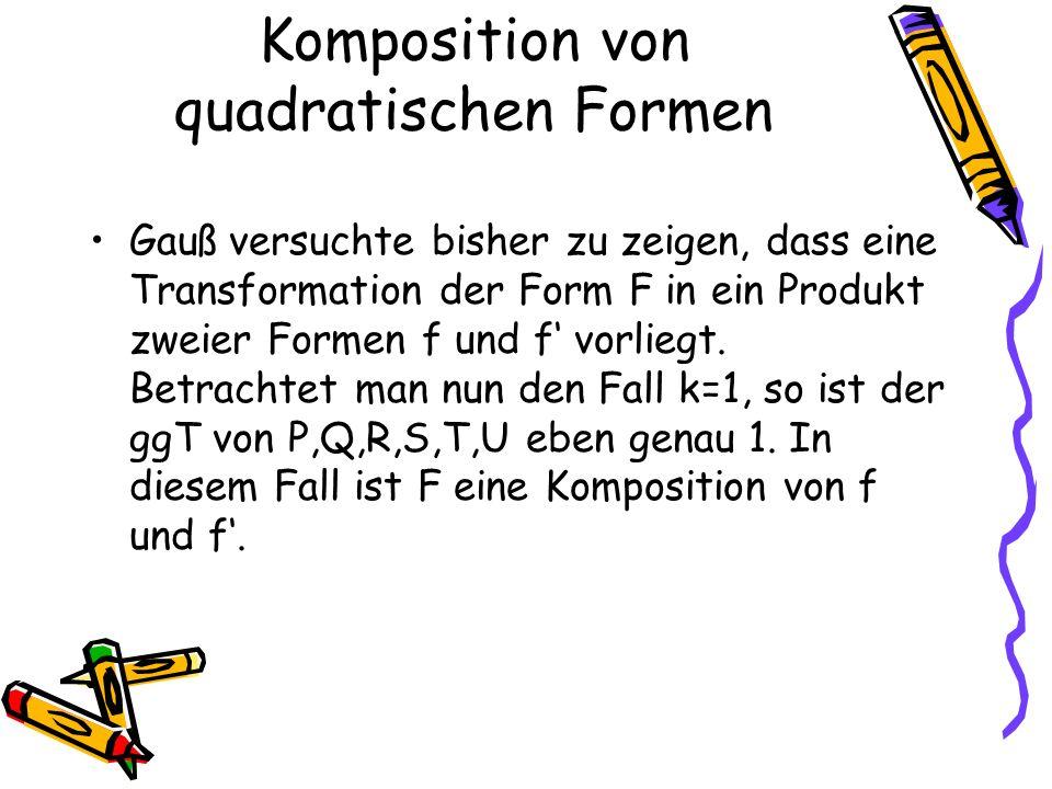 Gauß versuchte bisher zu zeigen, dass eine Transformation der Form F in ein Produkt zweier Formen f und f vorliegt.
