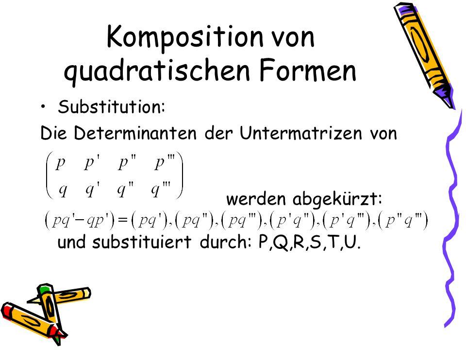 Komposition von quadratischen Formen Substitution: Die Determinanten der Untermatrizen von werden abgekürzt: und substituiert durch: P,Q,R,S,T,U.